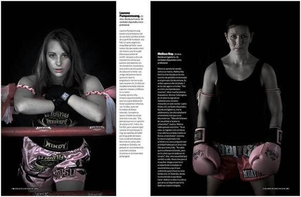 """Women in the Ring"" - an 8-page article by Luis Garrido-Julve (text) and Joan Manuel Baliellas on female Muay Thai fighters in Thailand (June 2014). The article was published in the Sunday supplement of  Spanish newspaper La Vanguardia, and reviewed by Emma Thomas in Under the Ropes."
