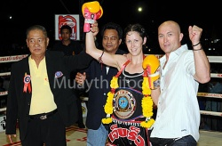 Theres after winning her first world title (WPMF 130lb) on points against Soraya Or Boonchuay (France), Sanam Luang, December 2008
