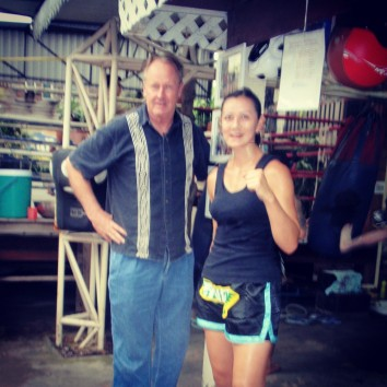 A slightly blurry shot of Kevin and I at Eminent Air Boxing gym last week.